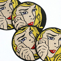 "Roy Lichtenstein Pop Art 3"" Embroidered Patch- Crying Girl, Free Shipping on all order over 30 dollars with code ""over30"""