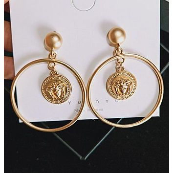VERSACE Fashion Women Chic Circular Pendant Earrings Jewelry