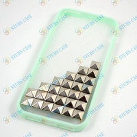 Studded iPhone 5C Case,Iphone 5C /5S case, iPhone 5C/5 Cover Silver Pyramid Studs Mint green Frosted Translucent iPhone case,Studded Cases