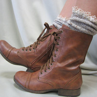 Miss Tori  lace boot socks tweed Oatmeal for combat boots cowboy boots by Catherine Cole Studio slouch  socks MADE IN USA (SLX204L)