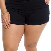 Every Day Adventure Plus Size Belted Shorts - Black