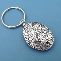 Flower, Paisley, Locket, Keycain, Keyring, Flower, Key chain, Silver, Clasp, Key ring, Photo, Locket, Simple, Gift,Jewelry, Accessories