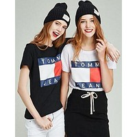 Fashion Tommy Jeans Tunic Top Blouse Womens Cotton T-shirt Summer