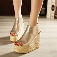Summer High Heels Gladiator Sandals Platform Knitted Women Wedges Shoes Female Trifle Open Toe High Flip Flops Plus Size 8
