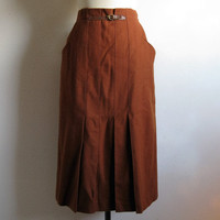 Vintage 1980s Pleat Skirt Amber Brown Pleat Skirt w- Leather 80s Midi Day Skirt 48 Large
