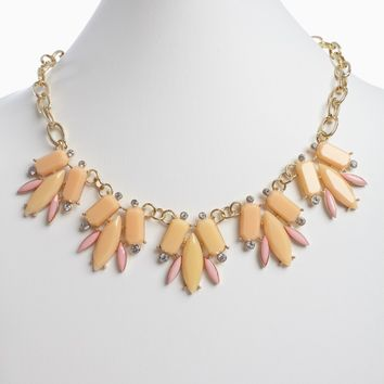 Peach Rhinestone Accent Jeweled Statement Necklace/Earring Set