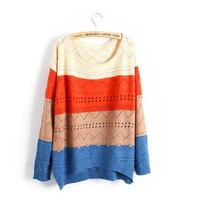 Spell Color Stripe Casual Long Sleeve Loose Sweater from Showmall