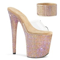 Bejeweled 812 Rose Gold Iridescent Rhinestone Ankle Cuff Platform Shoes