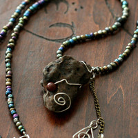Wire-Wrapped Ancient Lava Rock beaded necklace