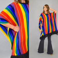 80's Rainbow Stripe FRINGED Poncho