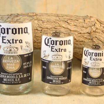 Drinking Glasses Upcycled from Corona Beer Bottles, Recycled Drinking Glasses
