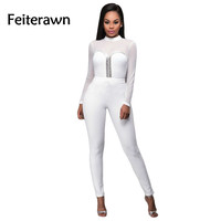 Feiterawn 2017 Women New Sexy See Through Mesh Backless Rompers Black White long Sleeve jumpsuit combinaison femme OS1030