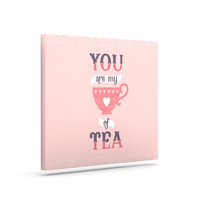 "Daisy Beatrice ""My Cup of Tea"" Pink Purple Canvas Art"