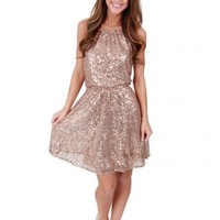 Kiss Me At Midnight Gold Sequin Dress | Monday Dress Boutique