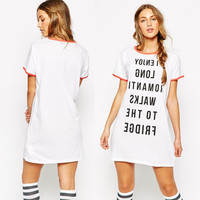White Letter Print Short Sleeves Shift Dress