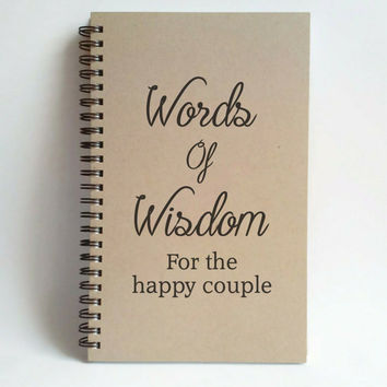 Words of wisdom for the happy couple, 5x8 writing journal, custom spiral notebook, personalized brown kraft memory book, wedding gift