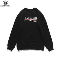 Balenciaga Women's Logo Letter Print Long Sleeve Hoodie Turtleneck Sweater F-A-KSFZ Gray