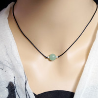 Tiny Green Aventurine Choker - Single Bead Necklace -  Simple Aventurine Choker - Heart Chakra Healing - Green Stone Choker
