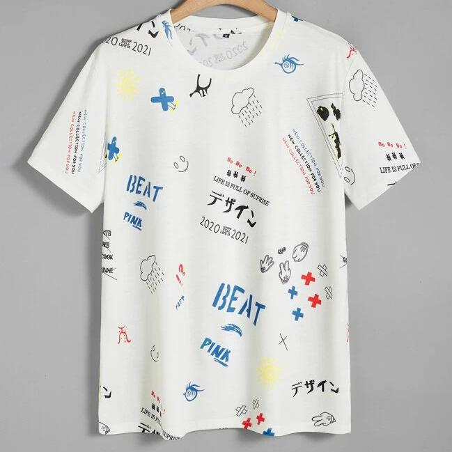 Image of Fashion Casual Men Cartoon Letter Graphic Tee