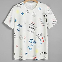 Fashion Casual Men Cartoon Letter Graphic Tee