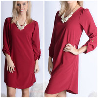Casual Affair Burgundy Button Sleeve Shift Dress