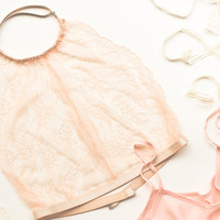Lace halter bralette See through lingerie underwear Crop top Soft bra Sexy sheer bralette Triangle lacy high neck intimate Strappy Scalloped