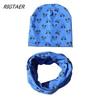 2017 Baby Hat scarf Cartoon Print Caps For Boy Girl Cotton Knit Spring Autumn Winter Children beanies kids photography props