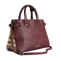 Tote Bag Handbag Authentic Burberry Medium Banner in Leather and House Check Mahoganyred Item 39630371