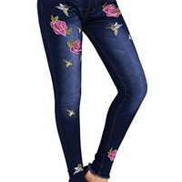 Women's Rose Embroidered Frayed Ankle Length Skinny Jeans