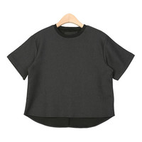 Contrast Ribbed Cotton Blouse