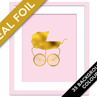 Baby Carriage Print - Gold Foil Print - Baby Pram Poster - Stroller Art Silhouette - Gold Baby Room Decor - Furniture Art - Gold Nursery Art