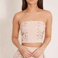 Haley Black Lace Up Bandeau Crop Top - Tops - PrettylittleThing   PrettyLittleThing.com