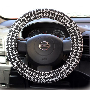 Steering-wheel-cover-cheetah-wheel-car-accessories-Black-and-White-Houndstooth-Steering-Wheel-Cover