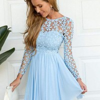 A-Line/Princess Scoop Long Sleeves Lace Short/Mini Chiffon Dresses - Hoco Story