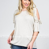 Jordan Ruffle Grey Top