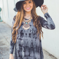 Lightning Effect Dress in Charcoal