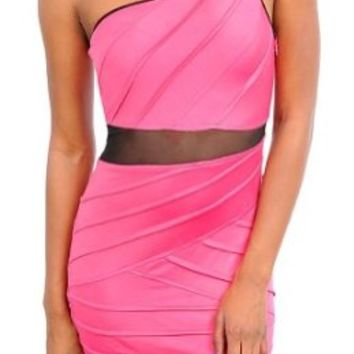 Pink One Shoulder Pleated Sheer Cut-out Mini Dress (M)
