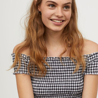 Smocked Off-the-shoulder Top - White/black checked - Ladies | H&M US