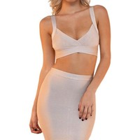 Night Moves Sleeveless Cut Out Crop Top Bodycon Bandage Two Piece Midi Dress - 3 Colors Available - Sold Out