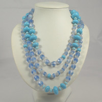 Art Deco Blue Clear Turquoise Glass Bead Necklace Flapper Length