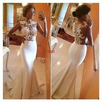 Sexy Mermaid Sheer Lace Prom Ball Dresses Formal Evening Celebrity Party Gown