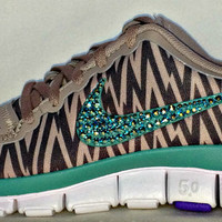 Women's Nike Free 5.0 v4 with Swarovski swoosh Orewood Brown/Diffused Jade