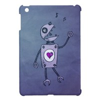 Cute Grunge Happy Singing Robot iPad Mini Cover from Zazzle.com