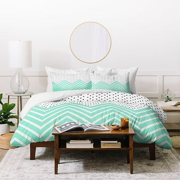 Allyson Johnson Minty Chevron And Dots Duvet Cover