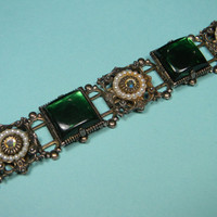 Ornate Green Bracelet, Lucite, Faux Pearls, Classic Vintage