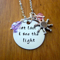 "Disney's ""Tangled"" Inspired Necklace. At last I see the light. Charm Pendant, Silver colored, Swarovski crystal, for women or girls"