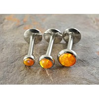 Orange Fire Opal Cartilage Earring Tragus Monroe Helix Piercing You Choose Stone Size
