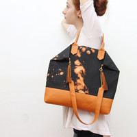 EVERYDAY 8/ Convertible dyed cotton & leather tote