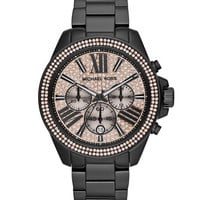Michael Kors Mid-Size Black Stainless Steel Wren Chronograph Glitz Watch