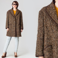 60s Brown Speckled Wool Coat / Trimmed Mottled Earth Tones Coat / Retro Mid Century Oversize Large L Coat
